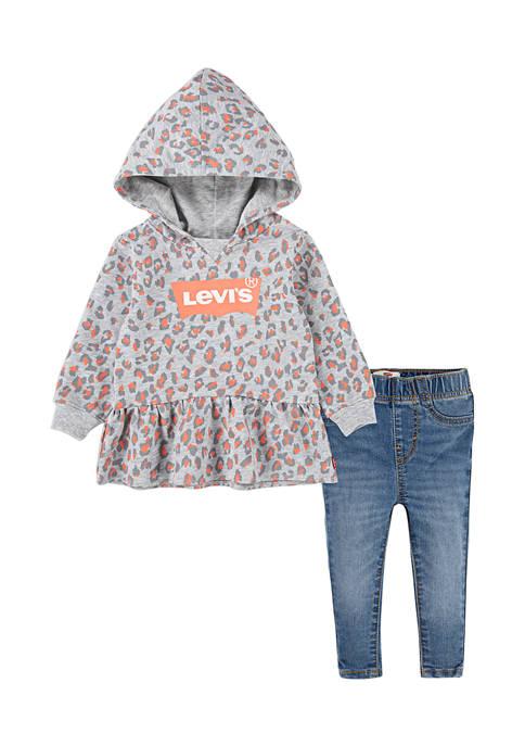 Toddler Girls Peplum Hoodie and Jeans Set