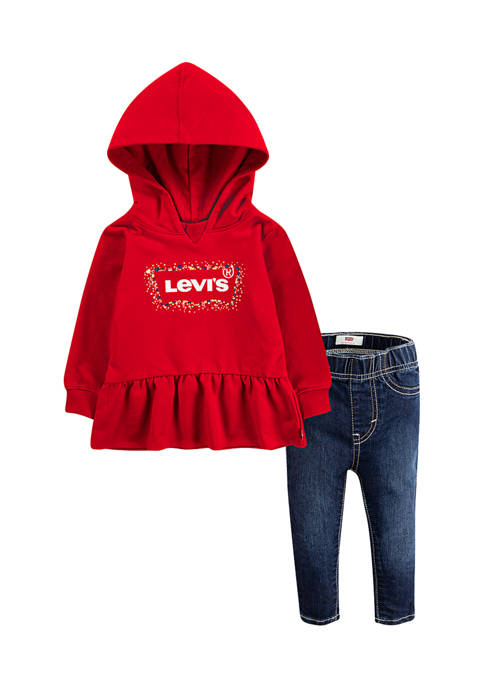 Levi's® Toddler Girls Peplum Hoodie and Jeans Set