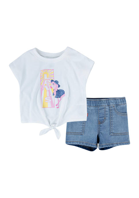 Toddler Girls Tie Front Flamingo Graphic T-Shirt and Elastic Shorts Set