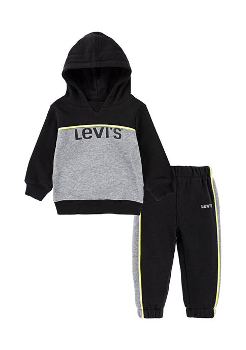 Baby Boys Color Block Hoodie with Jogger Set