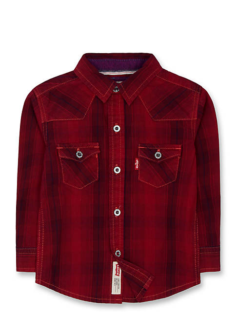 Levi's® Barstown Western Plaid Shirt for Boys