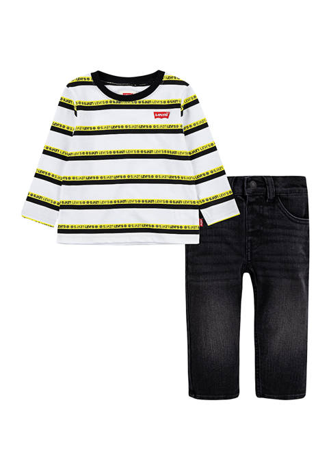 Levi's® Baby Boys Striped T-Shirt and Jeans Set