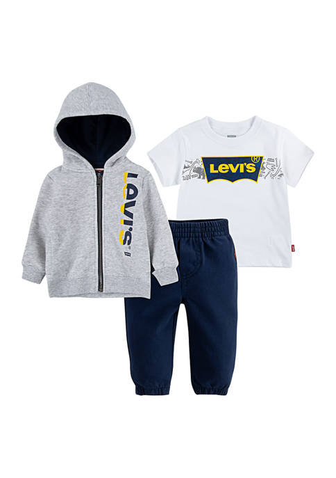 Levi's® Baby Boys 3-Piece T-Shirt, Zip Hoodie and