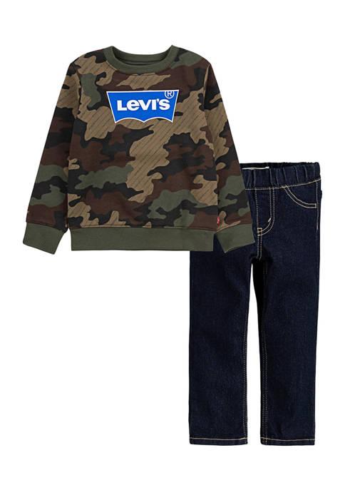 Baby Boys Crew Sweatshirt and Jeans Set