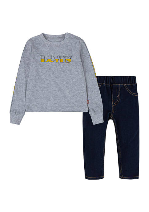 Baby Boys Long Sleeve Sweater and Jeans Set