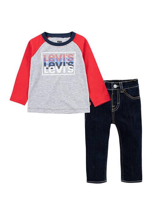 Levi's® Toddler Boys Raglan Top and Jeans Set