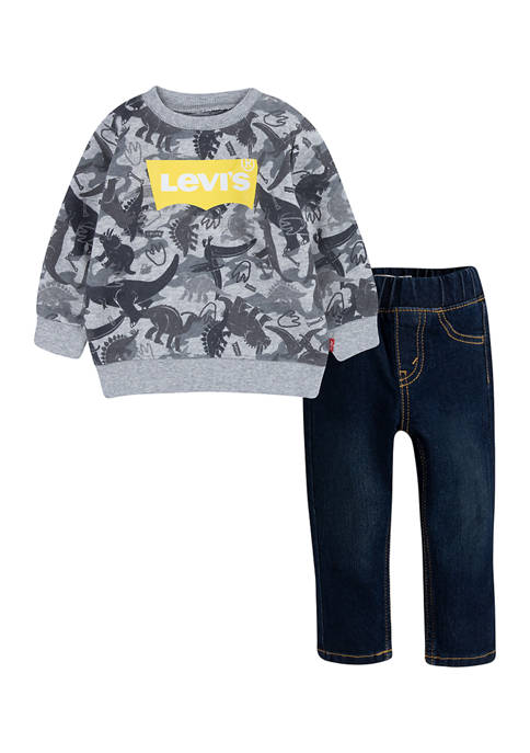 Toddler Boys Sweatshirt and Pull On Jeans Set