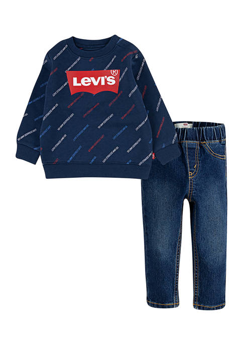 Levi's® Toddler Boys Sweatshirt and Pull On Jeans