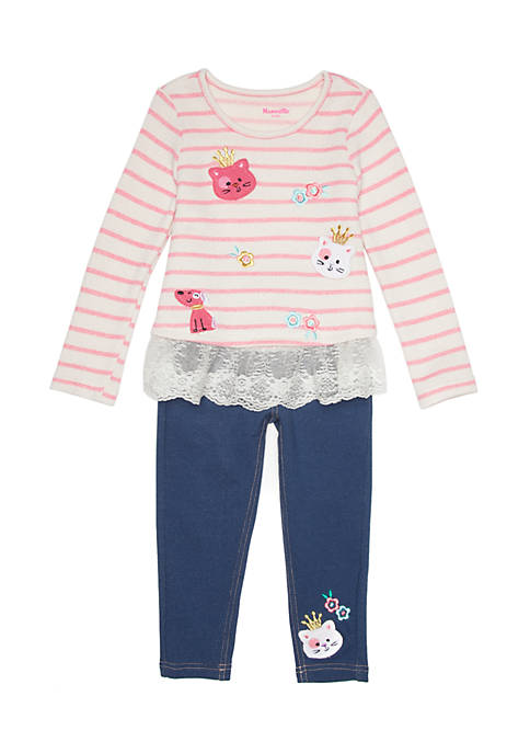 ec414d7f9 Nannette Striped Patches Top and Jeggings 2-Piece Set Toddler Girls ...