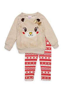 Toddler Girls Reindeer Woobie Set