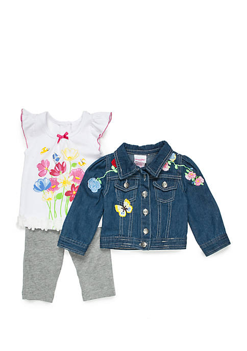 Nannette Girls Infant 3-Piece Jean Jacket, Tee and