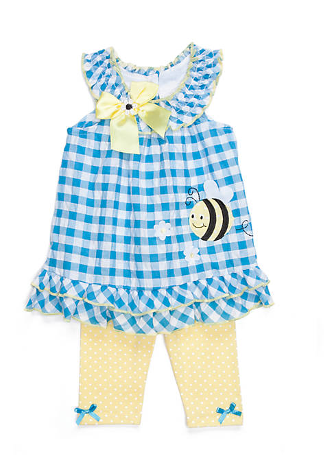 Nannette Infant Girls 2-Piece Gingham Bee Capri Set