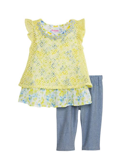 Baby Girls 2-Piece Dot Lace Knit Set