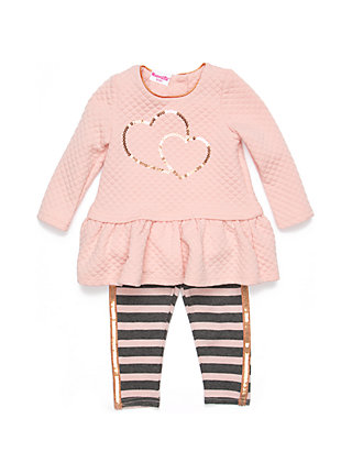 672ecf913 Nannette Infant Girls 2-Piece Quilted Dress and Striped Leggings Set ...