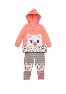 Baby Girls Kitten Sherpa Set