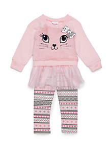 Baby Girls Fur Kitten Sweatshirt Set
