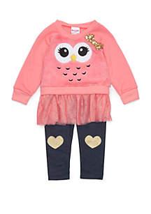 Baby Girls Faux Fur Sweatshirt Set