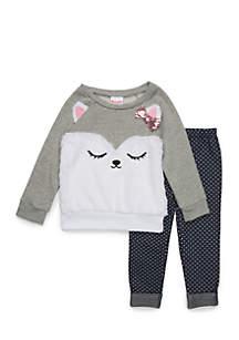 Toddler Girls Bearcat Fur Sweatshirt Set