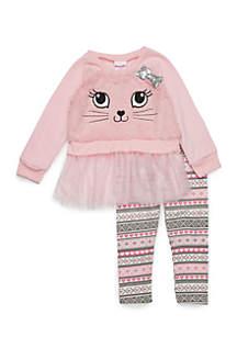 Toddler Girls Cat Fur Tulle Set