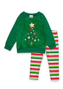 Toddler Girls Christmas Tree Woobie Set