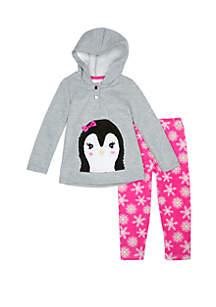 Toddler Girls Penguin Hooded Fleece Set