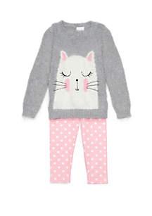 Toddler Girls Cat Sweater Set