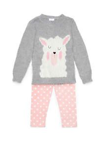 Toddler Girls Llama Sweater Set
