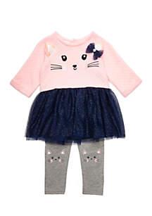 Infant Girls Kitten Face Legging Set