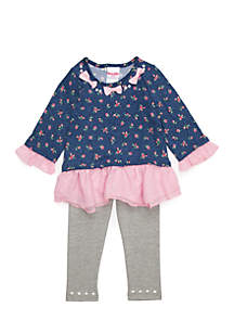 Toddler Girls Knit Floral Top with Pearls Legging Set