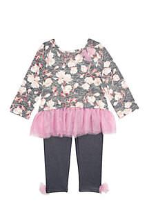 Toddler Girls Pink Tulle Floral Yummy Knit Denim Legging Set