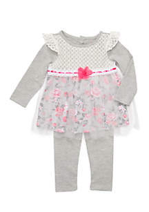 Infant Girls 2-Piece Lace Mesh Dress and Leggings