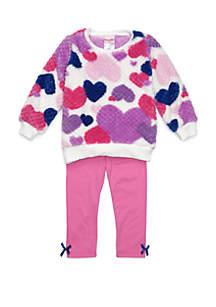 Toddler Girls Heart Print Woobie Set