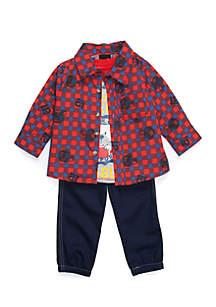 Infant Boys 3-Piece Plaid Jogger Set