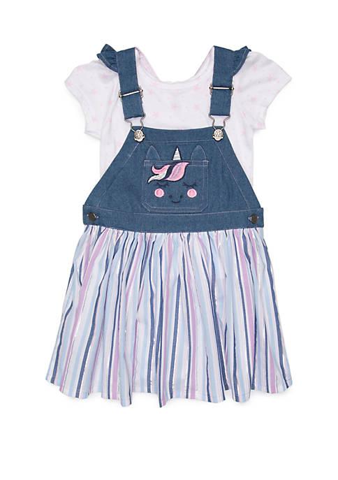 Toddler Girls Unicorn Denim Jumper Dress Set