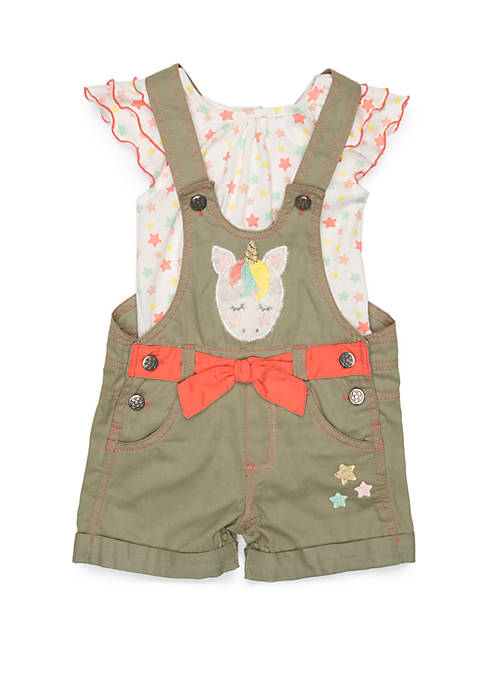 Baby Girls Unicorn Star Shortall Set