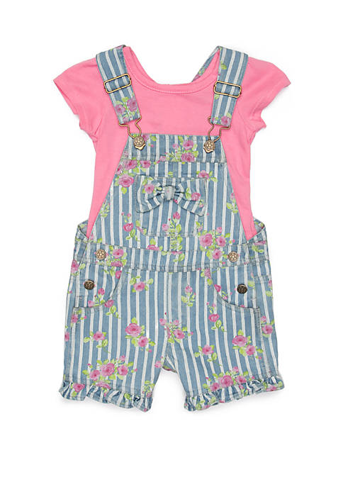 Baby Girls Pink Stripe Floral Print Shortall Set