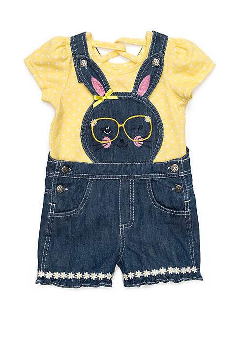 Toddler Girls Bunny Denim Overall Set