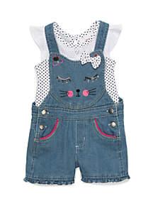 Nannette Toddler Girls Cat Denim Overall Set