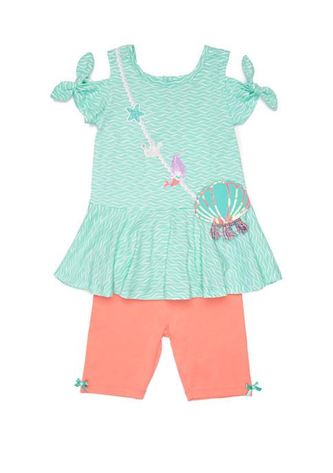 Nannette Baby Girls Mermaid Shell Short Set