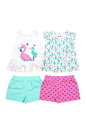 fdb350687 Nannette Toddler Girls 4 Piece Shorts and Tops Set