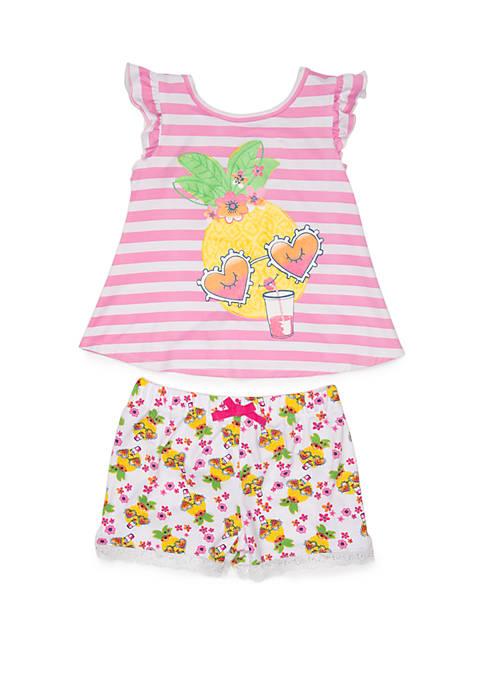 Nannette Girls 4-6x Yummy Pineapple Short Set