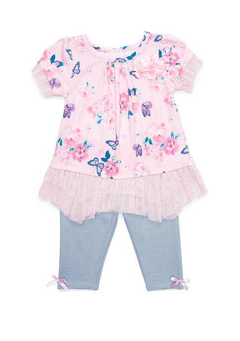 Baby Girls Floral Butterfly Print Set