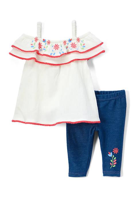 Baby Girls 2-Piece Flower Girl Leggings Set