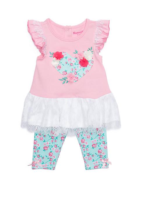 Baby Girls Floral Heart Legging Set