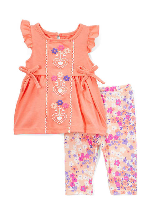Nannette Toddler Girls 2-Piece Heart Floral Leggings Set