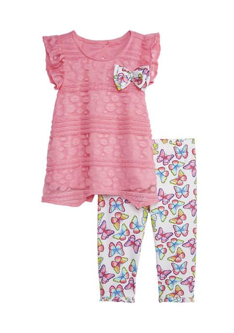 Toddler Girls Lace Butterfly Leggings Set