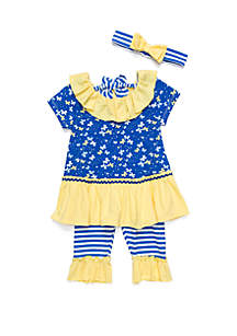 Nannette Toddler Girls Mixed Print Butterfly Capri Set