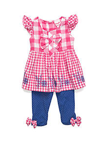 7606b886a ... Short Set · Nannette Baby Girls Dot Capri Set