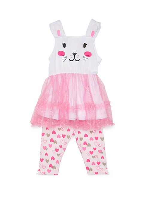 Nannette Baby Girls Bunny Glitter Tulle Short Set