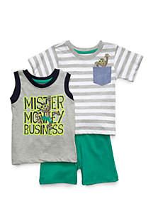 278baac7d14e ... Little Rebels Baby Boys 3 Piece Mister Monkey Business Set